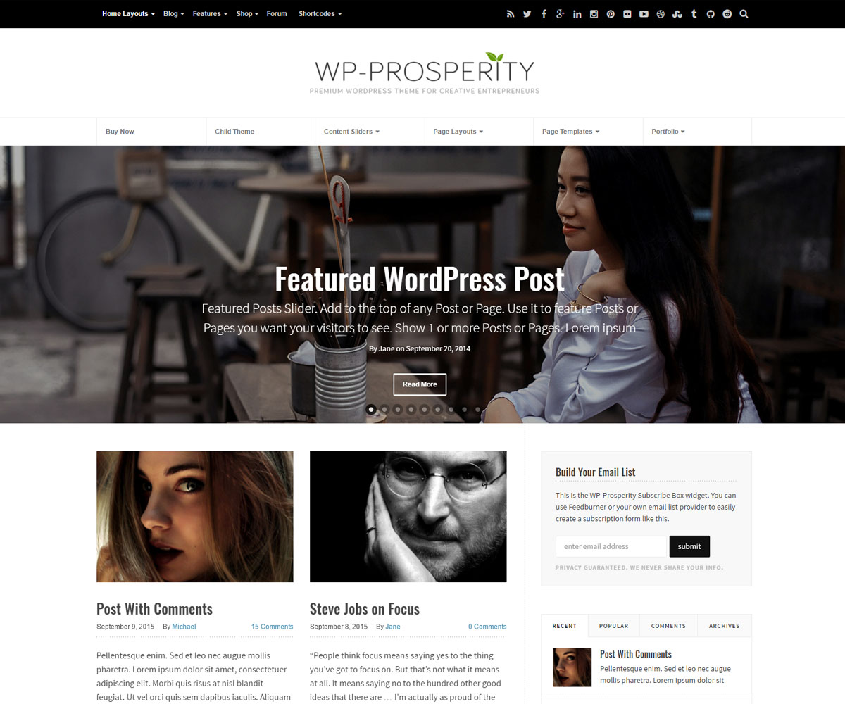 WP-Prosperity Premium Responsive WordPress Theme